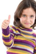 adorable girl saying ok - stock photo