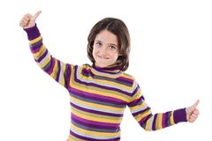 cheerful winner girl saying ok - stock photo