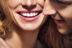 nice shoot of great smile and white teeth - stock photo