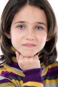 Portrait of adorable girl thinking Stock Photos