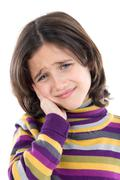 adorable girl whit toothache - stock photo