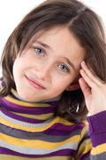 adorable girl whit headache - stock photo