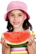 adorable girl eating watermelon - stock photo