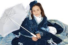 Girl with antique clothes Stock Photos