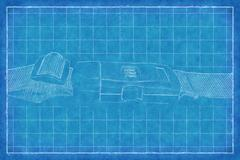 Buckle on strap - Blue Print Stock Illustration