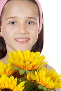 pretty girl with flowers - stock photo