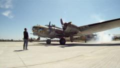 B-17 Engine Start Stock Footage