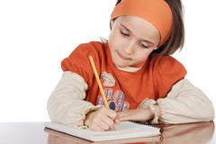adorable girl studying - stock photo