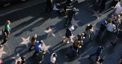 Ultra HD 4K Street Performers, Dancing on Hollywood Stars, Walk of Fame Crowds - stock footage