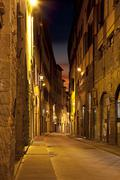 Ancient alley in firenze at night Stock Photos