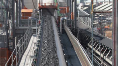 Transporting Coal on Conveyor NTSC Stock Footage