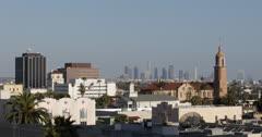 Ultra HD 4K CNN, Satellite Dish LA Aerial View Hollywood Los Angeles Skyline Stock Footage
