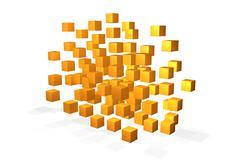 floating yellow cubes - stock illustration