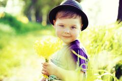 portrait of a little cute kid - stock photo
