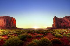 sunset in monument valley - stock photo