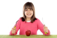 Stock Photo of girl with red apple