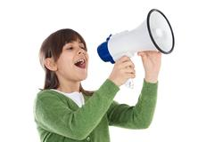 girl with megaphone - stock photo