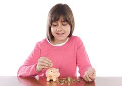 girl with money box - stock photo