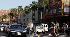 Ultra HD 4K El Capitan Disney Theatre, LA, Hollywood Boulevard, People Passing Stock Footage