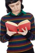 Stock Photo of attractive girl reading