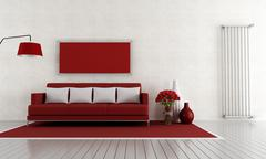 red and white living room - stock illustration