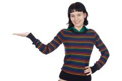 Girl holding nothing Stock Photos
