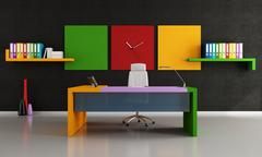 colorful modern office - stock illustration