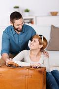 happy young couple with bag - stock photo
