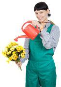 woman dressed gardener - stock photo