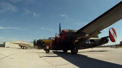 B-17 B-24 Bombers Taxi Out Stock Footage