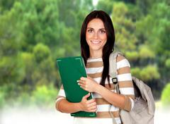 attractive student girl - stock photo
