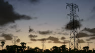 Stock Video Footage of Electricity pillars, sunrise timelapse