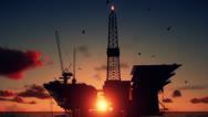 Stock Video Footage of Oil Rig in ocean, close up, beautiful timelapse sunrise