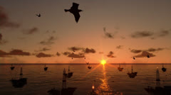 Oil rigs in ocean, timelapse sunrise, camera tilt - stock footage