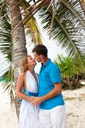 Loving wedding couple under the palm Stock Photos