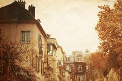 beautiful parisian streets - stock illustration