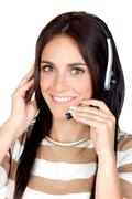 Beautiful brunette girl with headphone Stock Photos