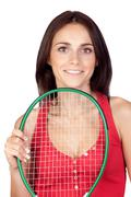 Beautiful brunette girl with tennis racket Stock Photos