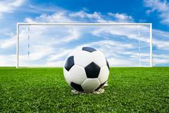 Soccer ball on green grass field Stock Photos