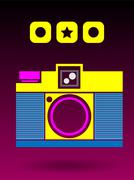 Stock Illustration of 2D Multi Color Lomo Analog Camera Background Concept
