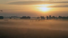 Fog,  landscape, sunrise - stock footage