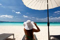 Tropical vacation, white beach Stock Photos