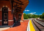 Stock Photo of the historic railroad station along train tracks in point of rocks, maryland.