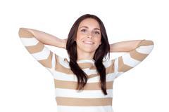 Relaxed brunette girl Stock Photos