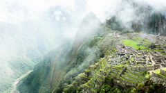 Machu Picchu, the ancient Inca city in the Andes, Peru Stock Footage
