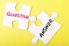 Question and answer words Stock Photos