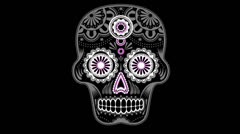 Animated sugar skull (semi 3D) colour - stock footage