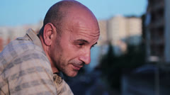 Desperate man, depressed man, sad man, melancholy man Stock Footage