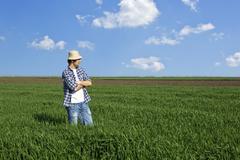 Stock Photo of farmer in a wheat field