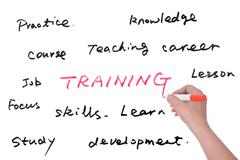 training related words group - stock photo